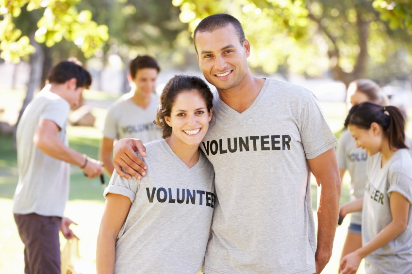 Couple volunteering in their free time