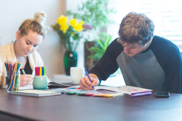 Couple coloring together