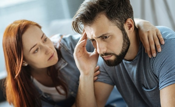 Wife Motivating Discouraged Husband