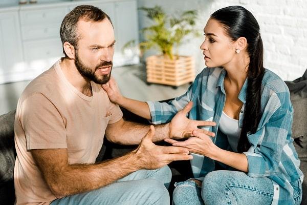 Husband irritated by wife