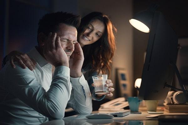 Wife Encouraging Stressed Husband