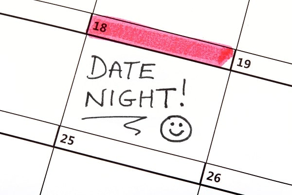 Date Night Marked on Calendar